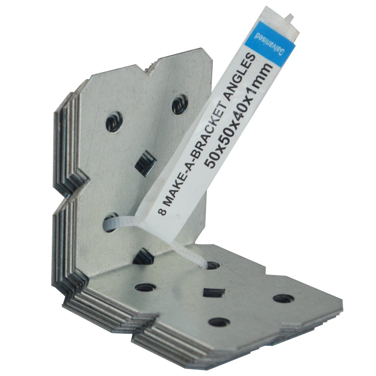 Carinya 50 x 50 x 40 x 1mm Galvanised Angle Bracket - 8 Pack