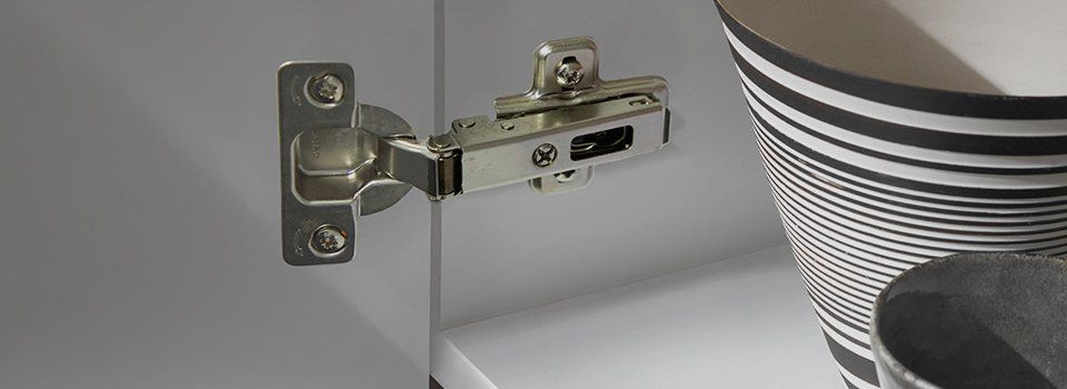 Cabinet hinge with bowl in cabinet.
