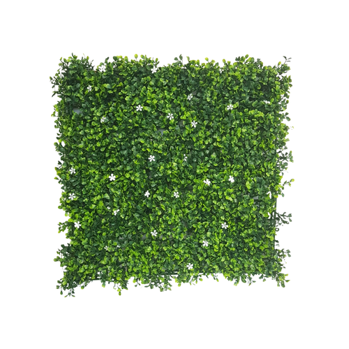 UN-REAL 50cm Buxus With White Flower Artificial Hedge Tile