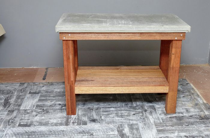 Finished DIY wood and concrete kitchen island table.