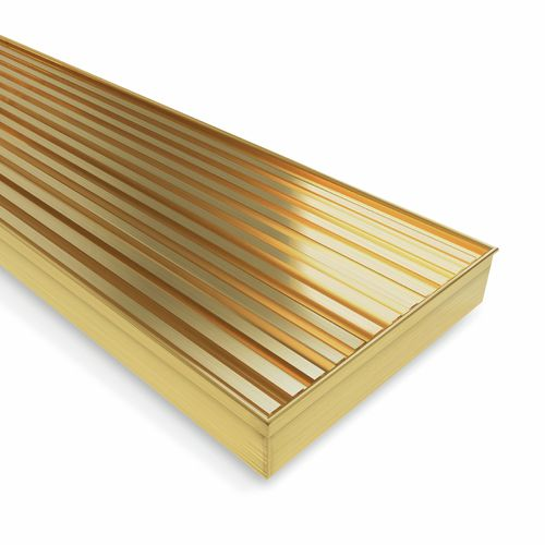 Forme 800 × 100mm Brushed Gold PVD Stainless Steel Mesh Floor Waste
