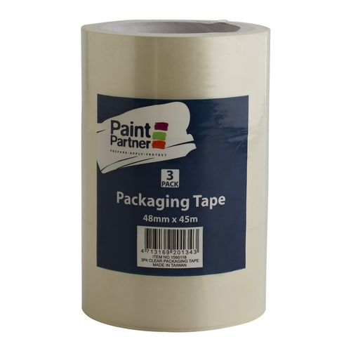 Paint Partner Packaging Tape 48mm x 45m Clear 3pk