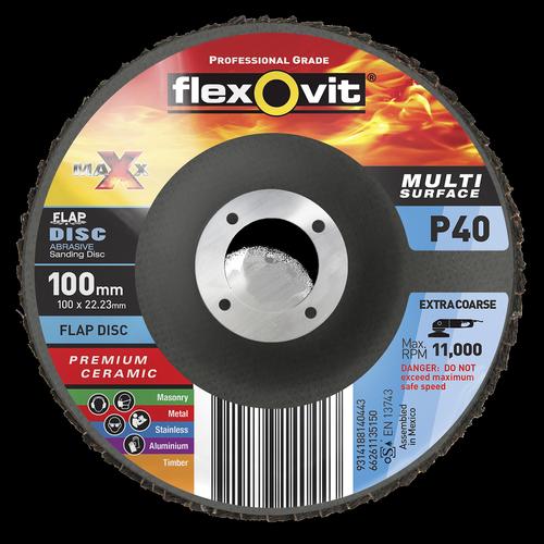 Flexovit 100 x 16mm Maxx P40 Flap Disc