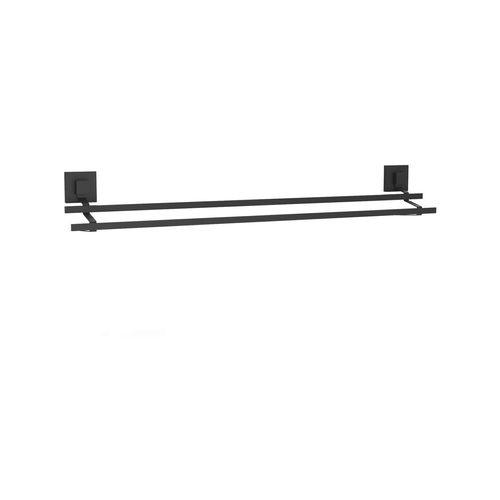 Fusion-Loc 80cm Matte Black Suction Double Towel Rail