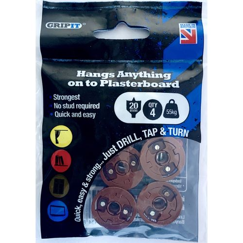 GripIt 20mm Brown Plasterboard Fixing - 4 Pack