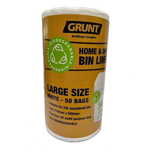 Grunt 34L Biodegradable Home And Office Rubbish Bags - 50 Pack