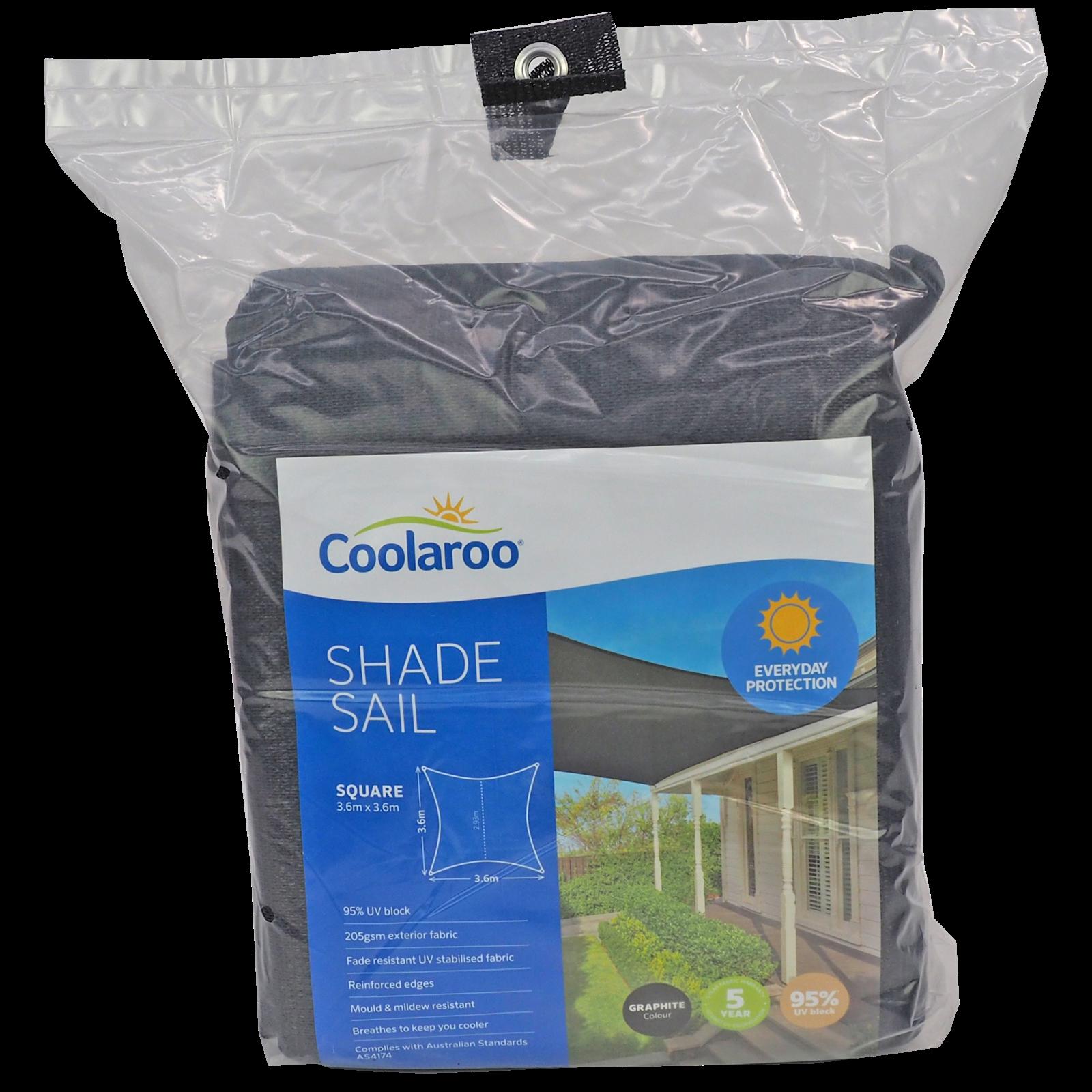 Coolaroo 3.6m Graphite Square Everyday Shade Sail