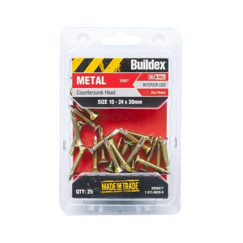 Buildex 10-24 x 30mm Zinc Plated Countersunk Head Metal Tek Screws  - 25 Pack