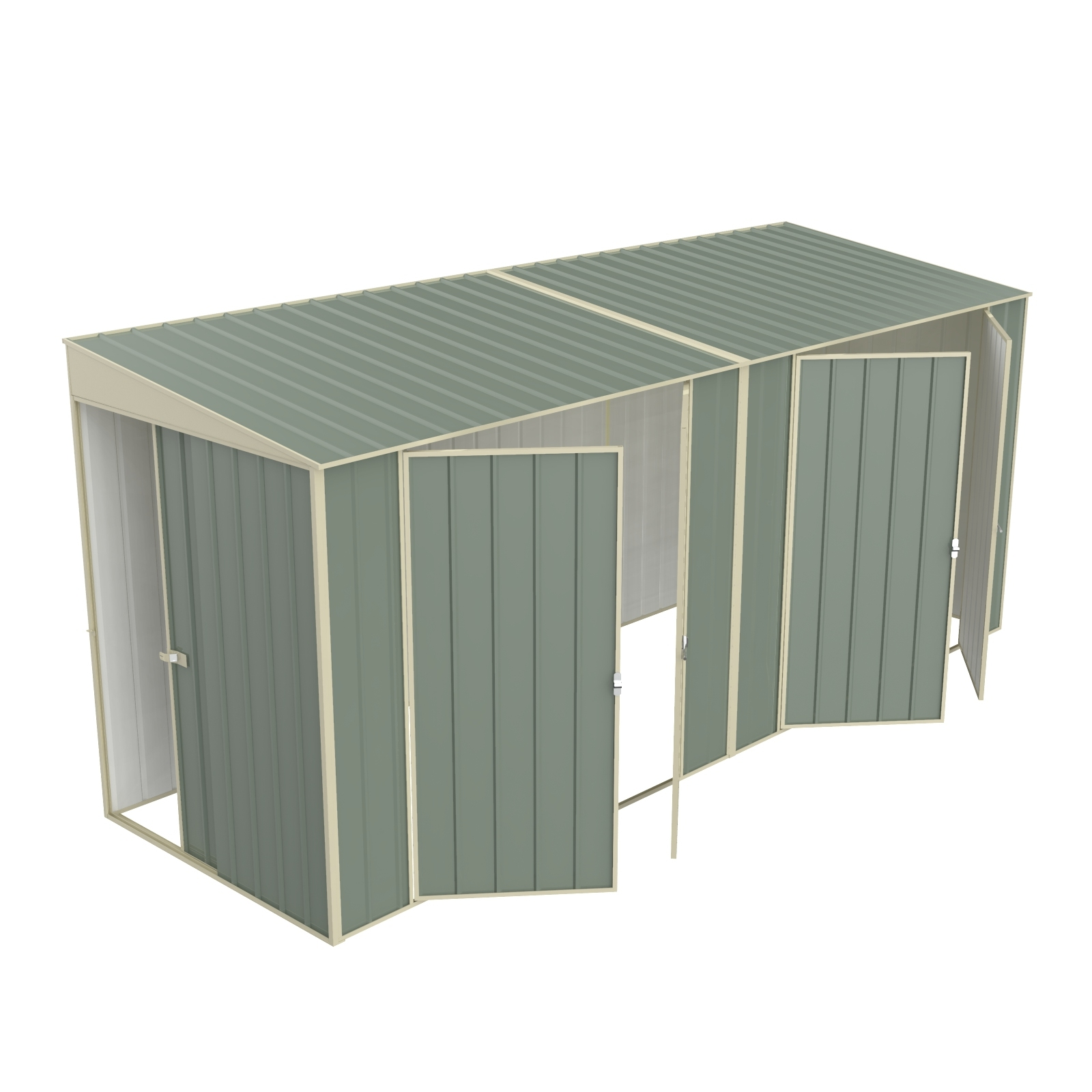 Build-a-Shed  1.5 x 4.5 x 2.0m Skillion Double Plus Double Hinged Side Doors Shed - Green