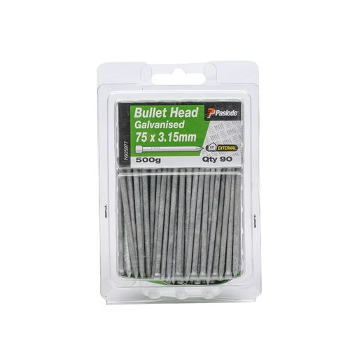Paslode 75 x 3.15mm 500g Galvanised Bullet Head Nails - 90 Pack