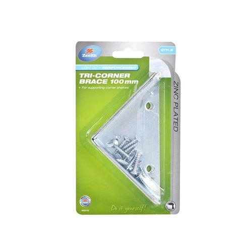 Zenith 100 x 22 x 2mm Zinc Plated Tri Corner Brace - 2 Pack