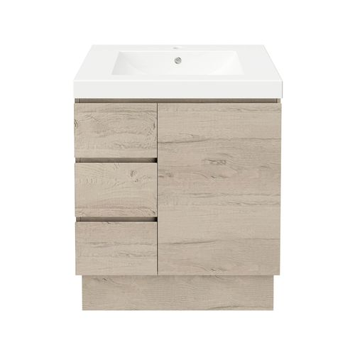 Forme 750mm Mont Albert Freestanding Vanity With Polymarble Top - LH Drawers - Light Ash