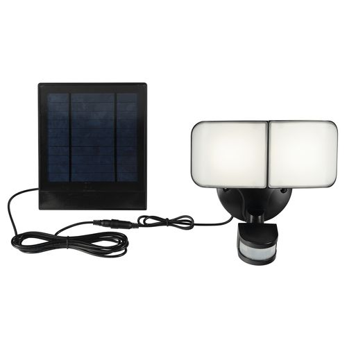 Brilliant Lighting 7W Black Middleton Security Solar Sensor Twin Light
