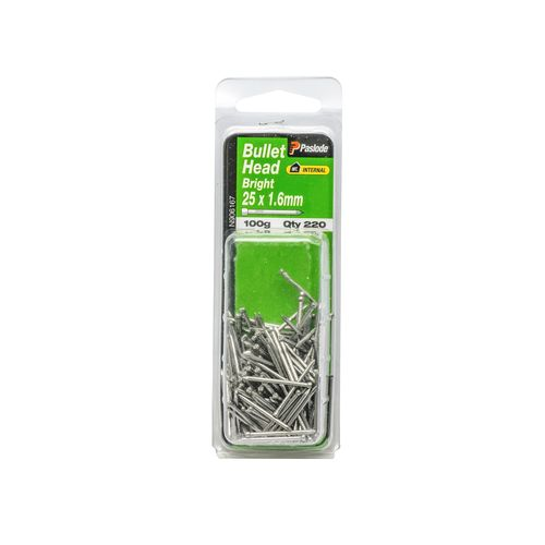 Paslode 25 x 1.6mm 100g Bright Steel Bullet Head Nails - 220 Pack