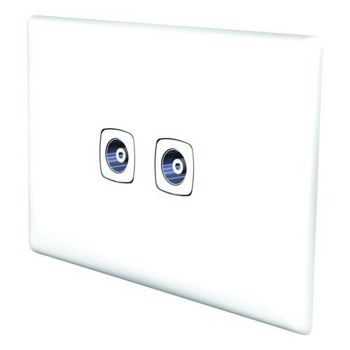 HPM LINEA TV & Audio F Coax & Coax Outlet - White