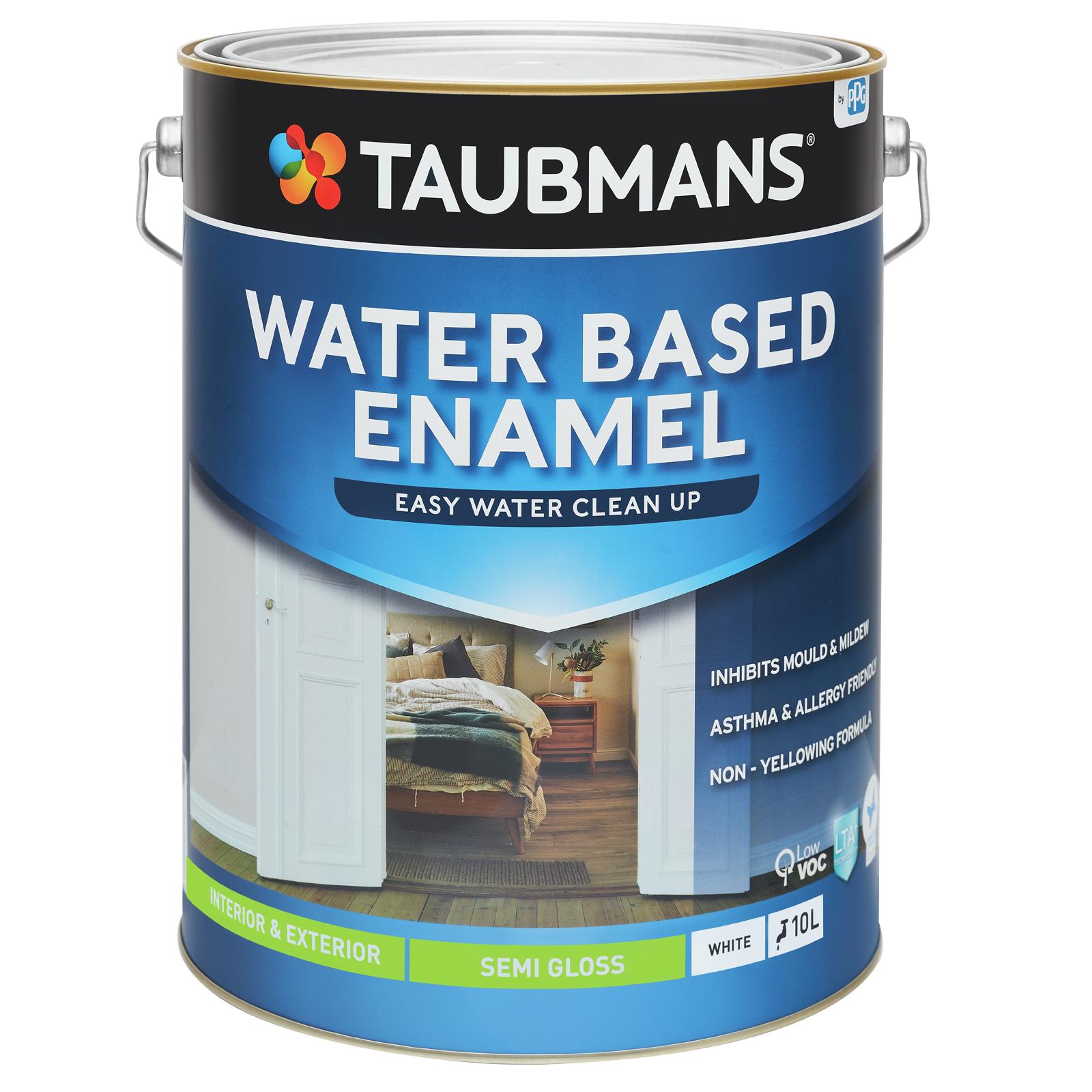 Taubmans 10L White Semi Gloss Water Based Enamel