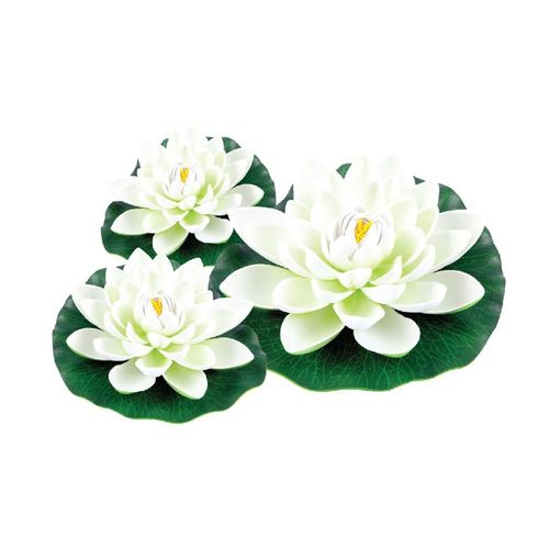 Aquapro Pond Accessory White Floating Water Lilies - 3 Pack