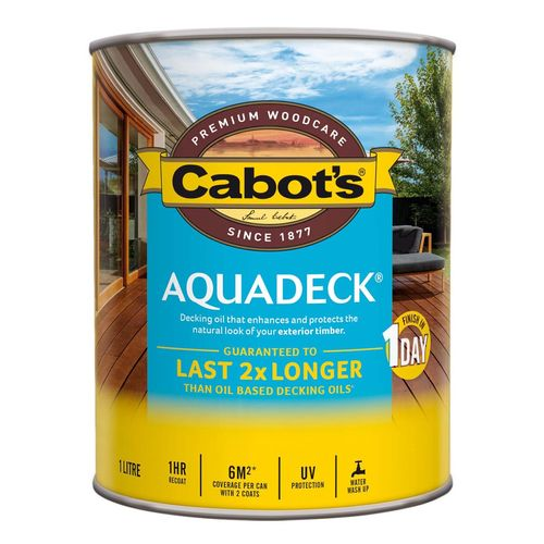 Cabot's 1L Waterbased Amber Aquadeck Decking Oil