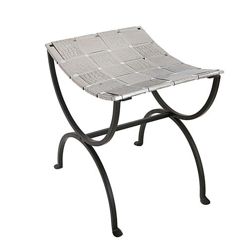 Lirash Small Black Dining Bench Seat with Woven Stainless Steel Top
