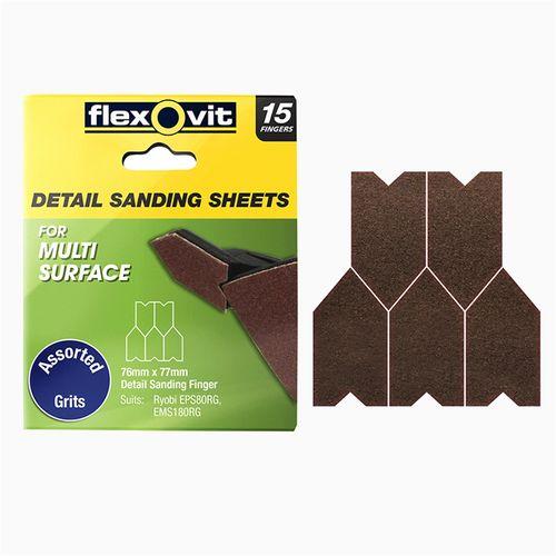 Flexovit 76x77mm All Surface Detail Sanding Sheet Assorted Grit 15pk