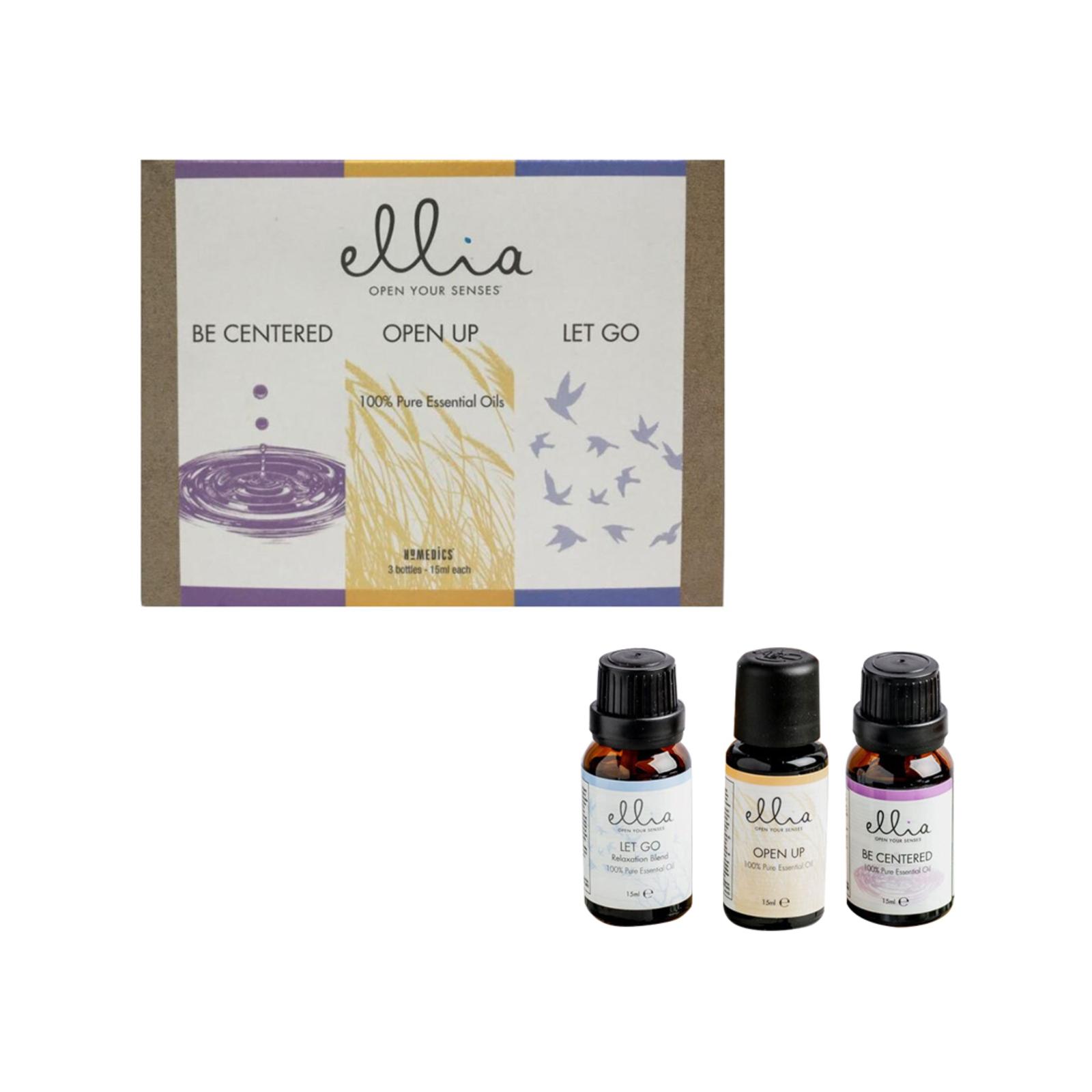 3pc Homedics Ellia 15ml Essential Oil Pack Relaxation/Invigoration/Aromatherapy