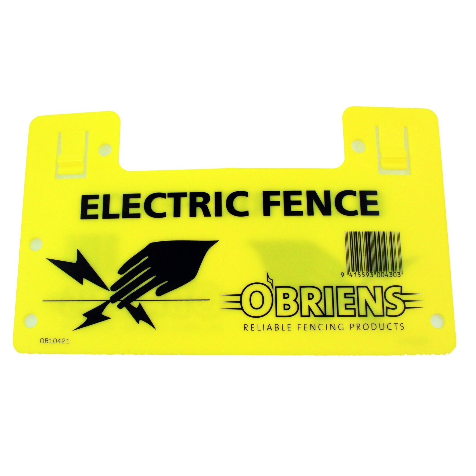 O'Briens Yellow Electric Fence Warning Sign