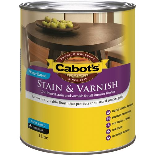 Cabot's 1L Walnut Satin Water Based Stain And Varnish