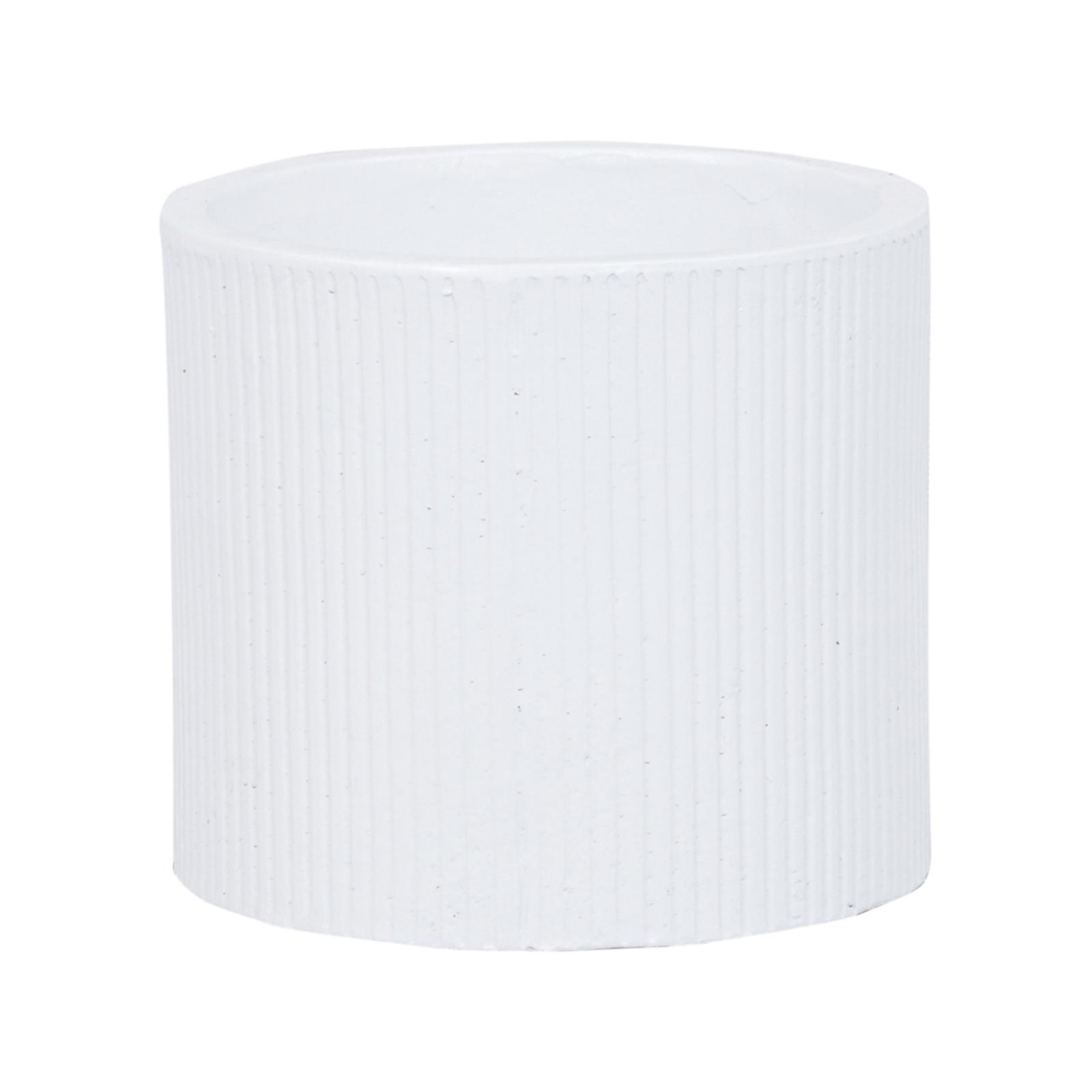 Lotus 18 x 16cm White Medium Cylinder Linear Ceramic Pot