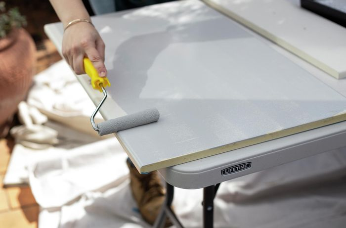 DIY - Step 5 - Paint your first coat - How to paint laminate kitchen cabinets