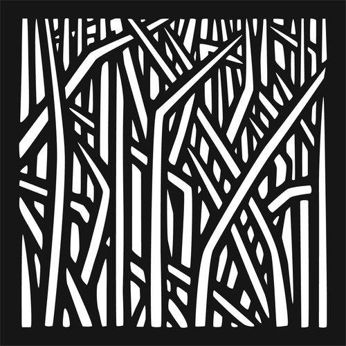 Matrix 57.5 x 57.5cm Charcoal Reeds Wall Art