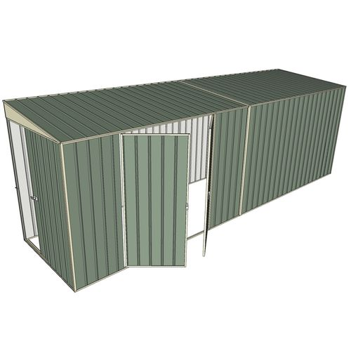 Build-a-Shed 1.5 x 6 x 2m Skillion Double Hinged Side Doors Shed - Green