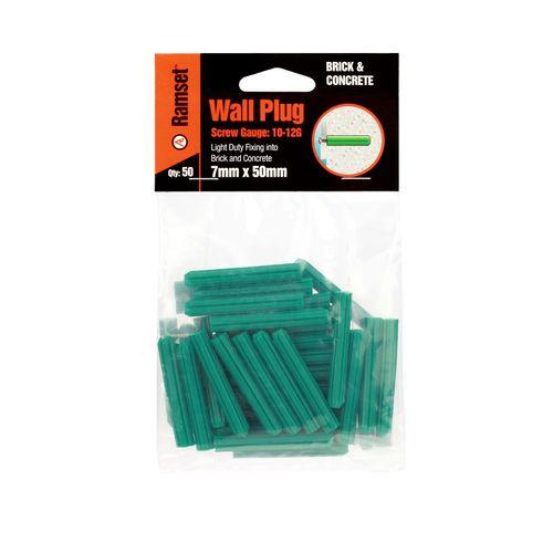 Ramset 7 x 50mm Green Wall Plugs - 50 Pack