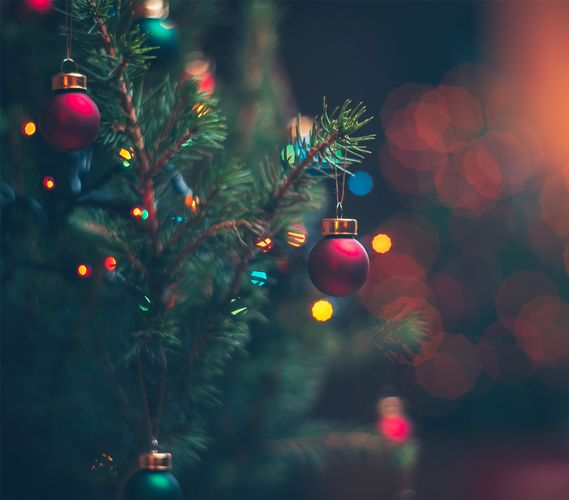 Christmas tree with baubles and fairy lights