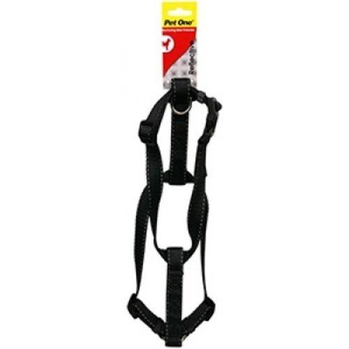 Dog Harness Nylon Reflective Adjustable - Black - 35cm-50cm x 20mm (Pet One)