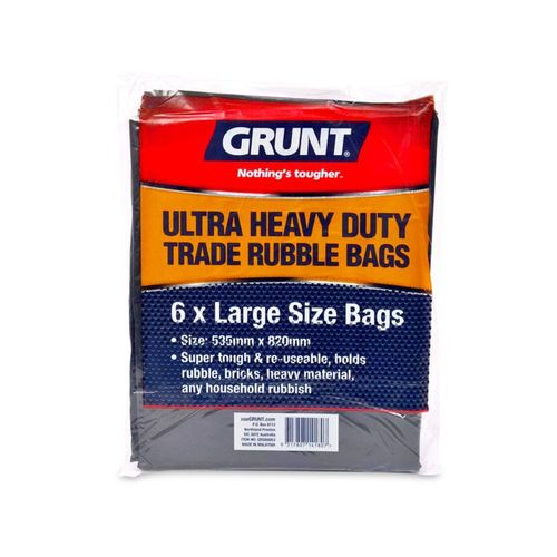 Grunt Large Ultra Heavy Duty Trade Rubble Bags - 6 Pack
