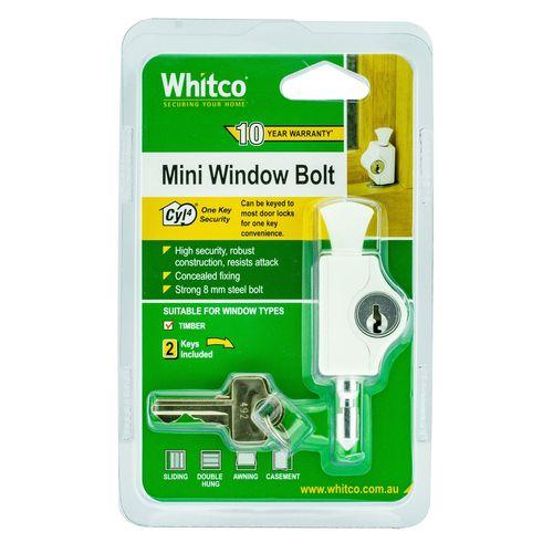 Whitco White CYL4 Mini Bolt Lock