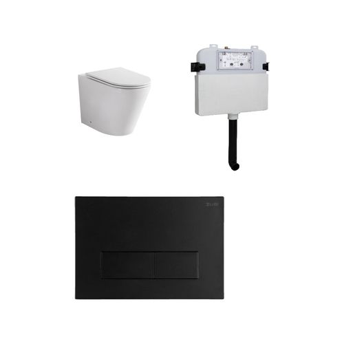 Zumi Java Concealed Cistern With Square Stainless Steel Matt Black Flush Plates And Pan