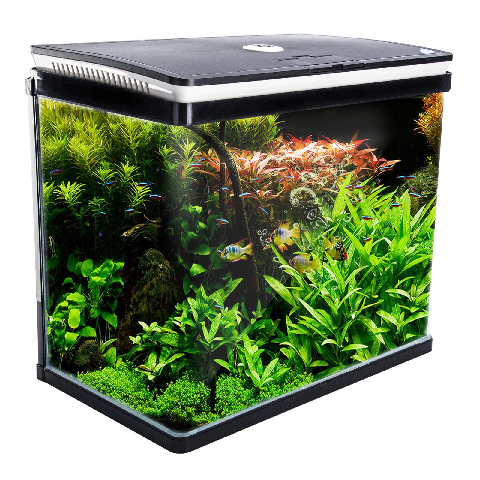 Aquarium Curved Glass RGB LED Fish Tank Set Filter Pump 52L