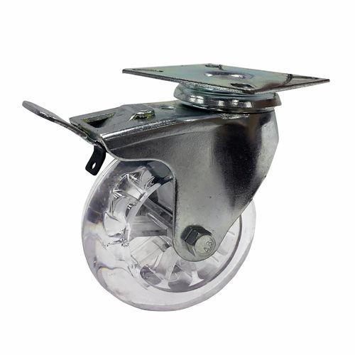 Easyroll 100mm 125kg Load Transparent Swivel Plate and Brake Castor