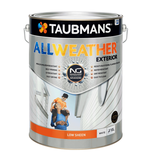 Taubmans 10L White Low Sheen All Weather Exterior Paint