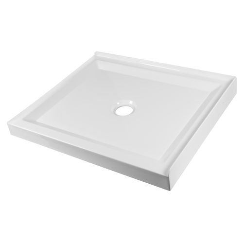 Stein 900 x 750mm White Left Hand Rectangle 2 Sided Shower Tray