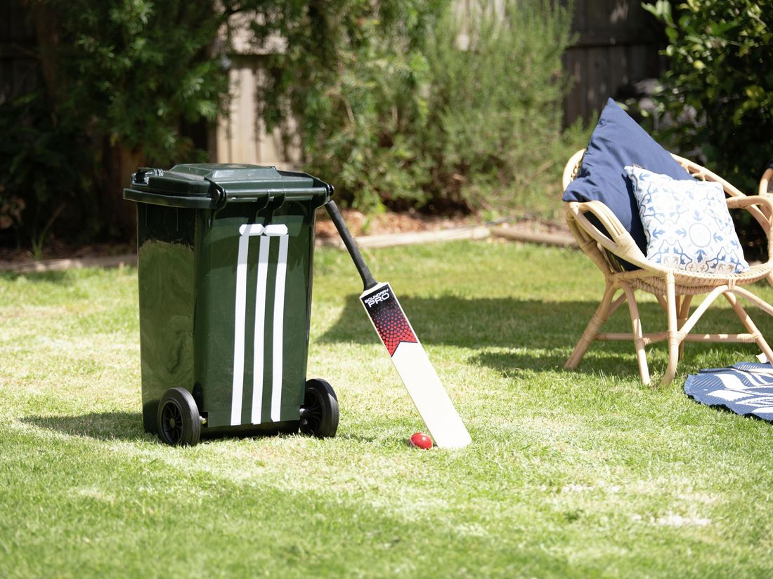 Image of completed pitch with a wheelie bin and bat with ball