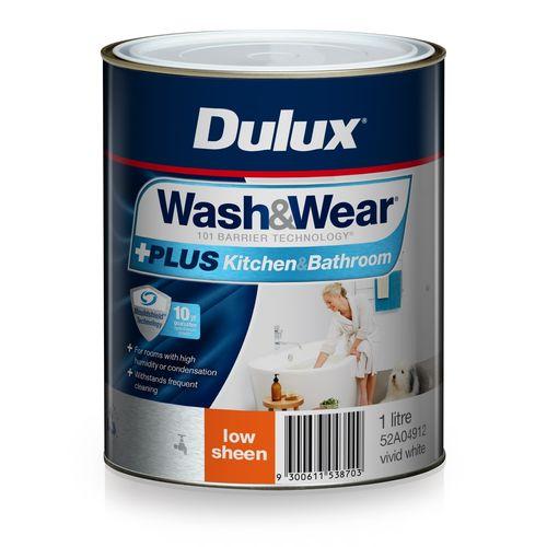 Dulux 1L Interior Paint Wash&Wear +PLUS Kitchen & Bathroom Low Sheen Vivid White