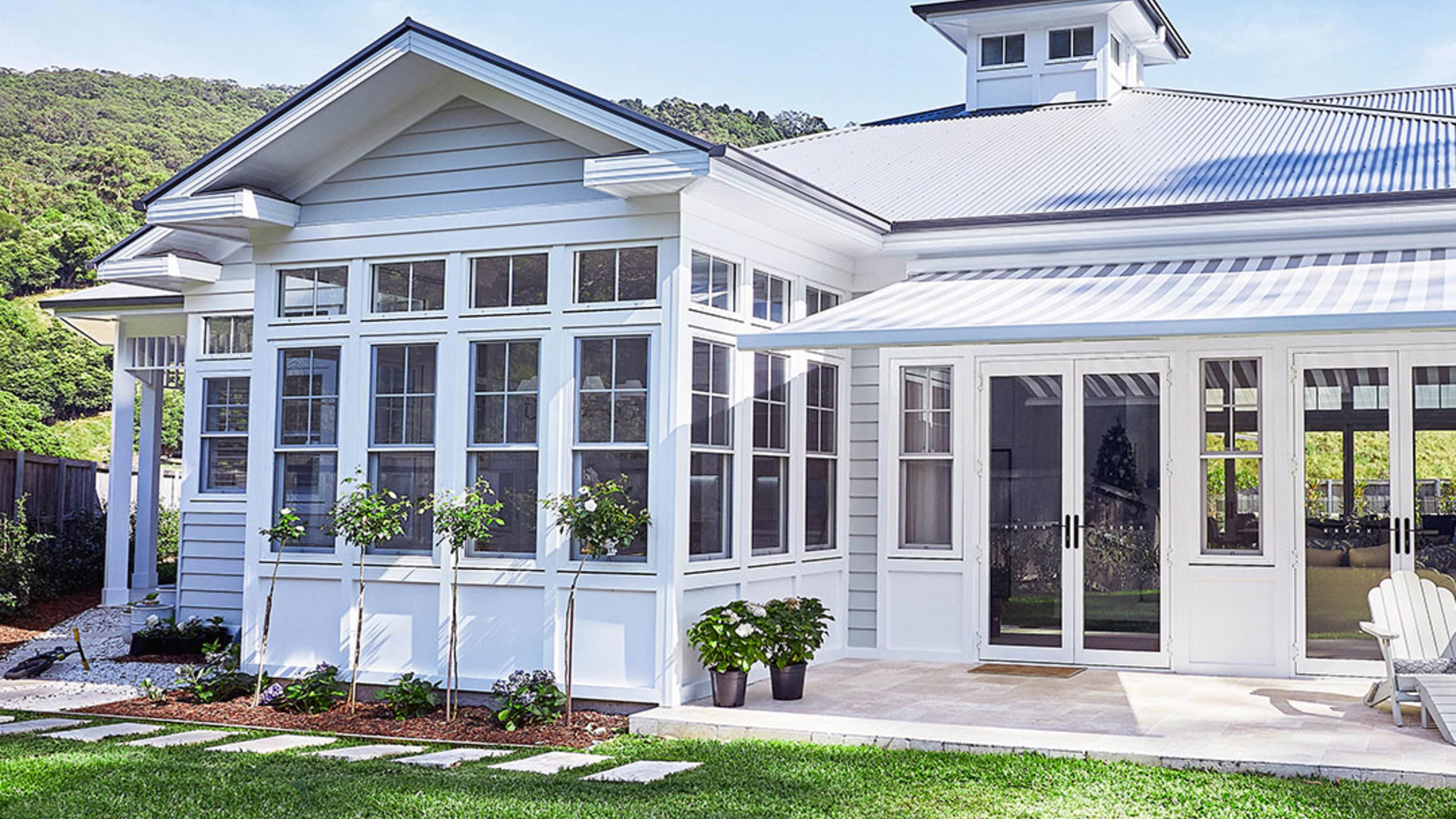 A Hamptons style house with white weatherboards