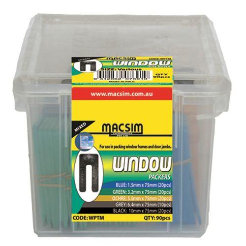 Macsim Fasteners 75mm Assorted Window Packers - 90 Pack