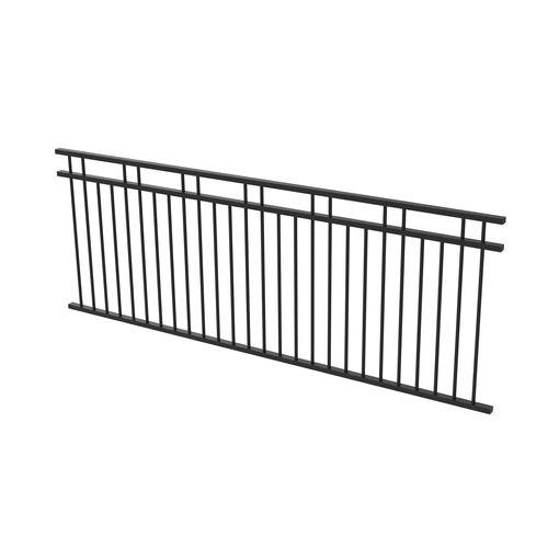 Protector Aluminium 2450 x 900mm Double Top Rail 2 Up 2 Down Fence Panel - Satin Black