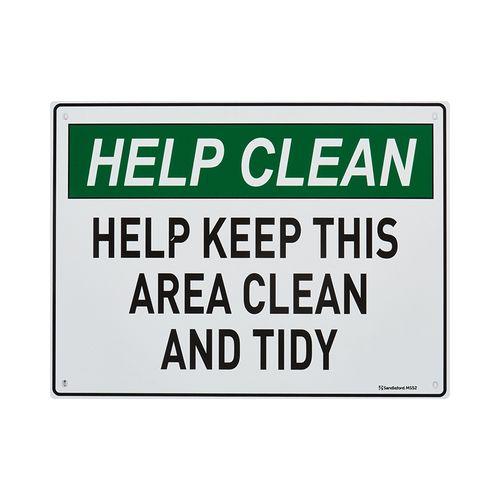 Sandleford 300 x 225mm Help Keep Area Clean Plastic Sign