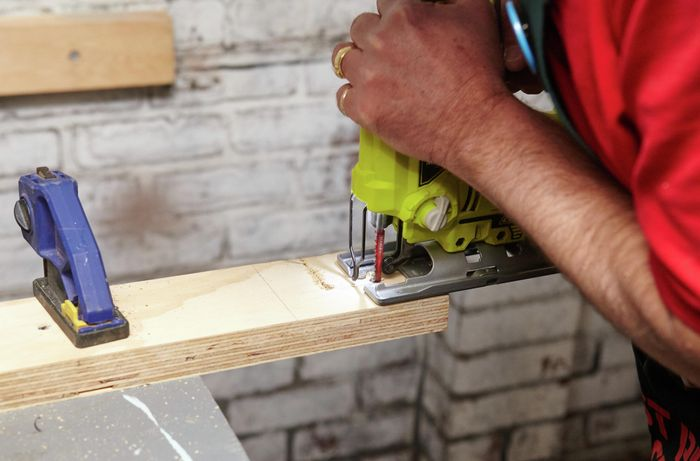 Person cutting ply.