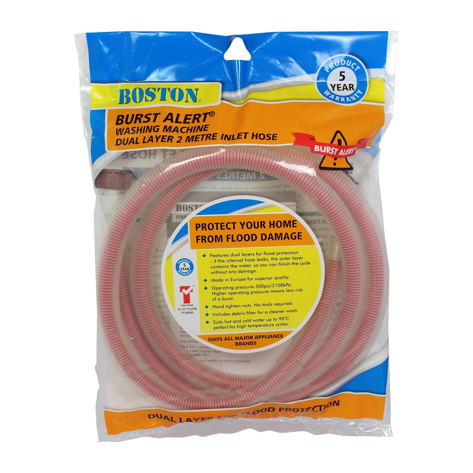 BOSTON 2m Burst Alert Washing Machine Inlet Hose