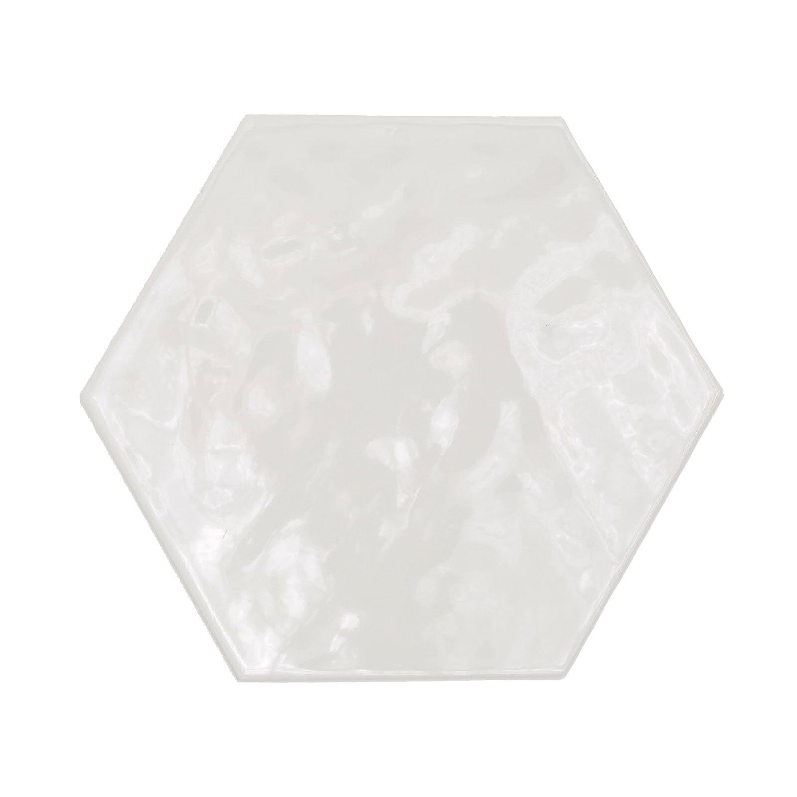 Decor8 200 x 175mm Super White Hexagon Devonshire Ceramic Wall Tiles - 37 Pack